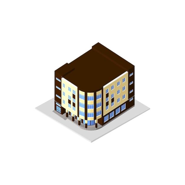 Casa moderna do ícone isométrico. prédio com janela