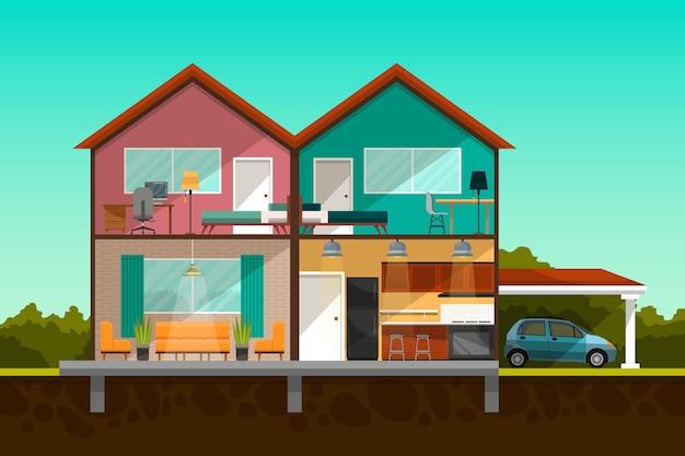 Casa moderna em corte transversal