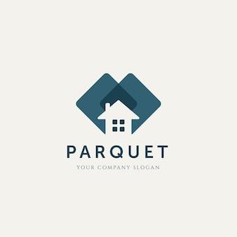 Casa moderna em parquet minimalista logotipo modelo ilustração vetorial design logotipo interior simples