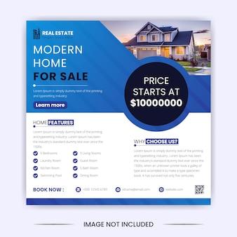 Casa moderna para venda de imóveis, postagem em mídia social e modelo de design de banner do instagram
