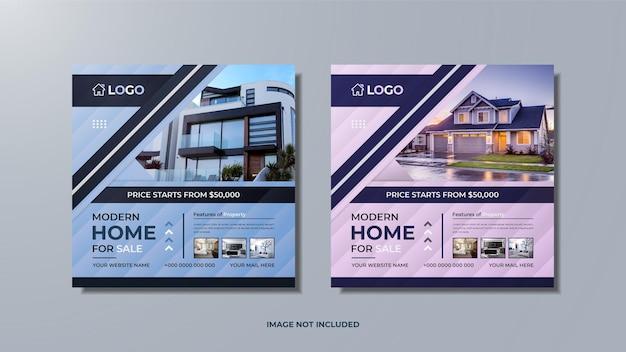 Casa moderna para venda imobiliária mídia social pós-design