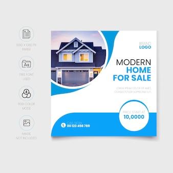 Casa moderna para venda nas redes sociais pós-design