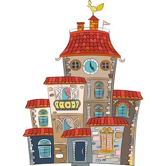 Casa multicolorida de conto de fadas de vetor