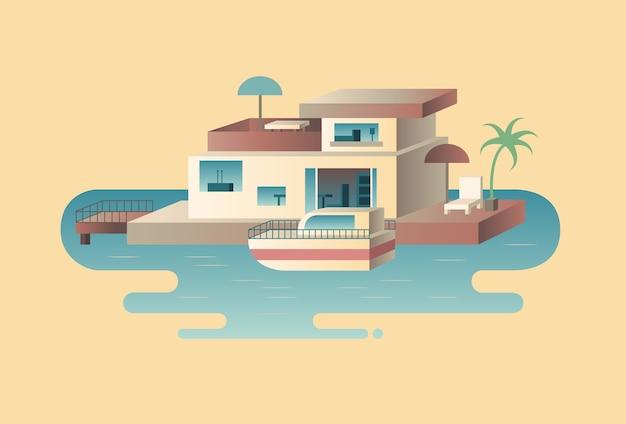 Casa na água com iate. barco marítimo, construção de arquitetura no oceano,
