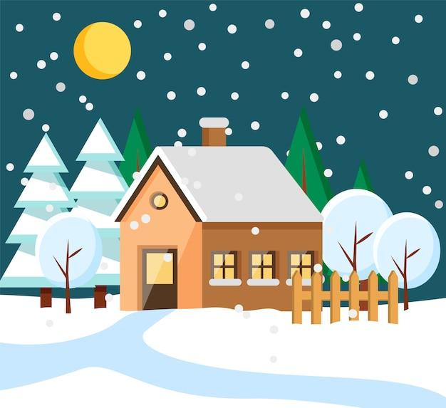 Casa na área rural no edifício da cidade à noite de inverno
