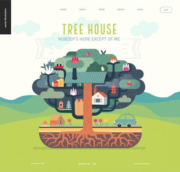 Casa na árvore com elementos