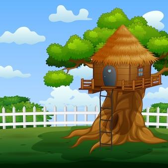 Casa na árvore de madeira na ilustração do jardim