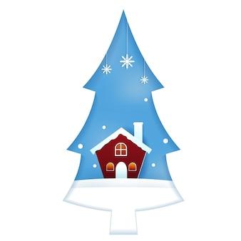 Casa na árvore de pinho neve temporada de inverno ilustração do estilo de corte de papel