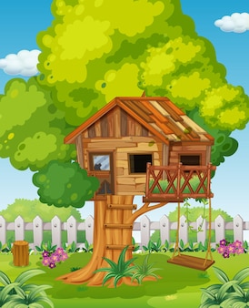 Casa na árvore no cenário do parque Vetor Premium