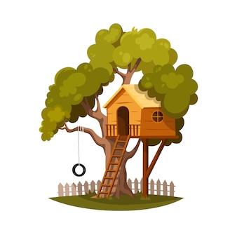 Casa na árvore para brincar e alegres crianças.