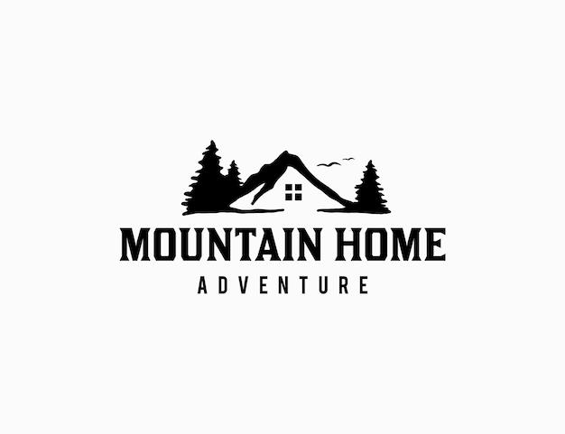 Casa na montanha com logotipo do pinheiro