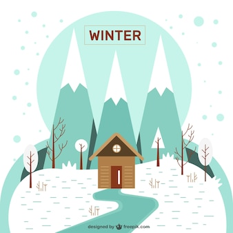 Casa na paisagem do inverno