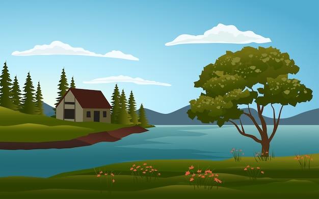 Casa na paisagem do lago
