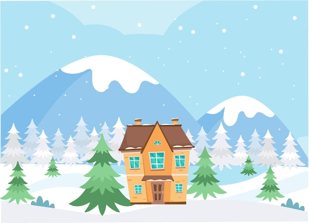 Casa nas montanhas cercada por pinheiros no inverno. natal inverno ilustração