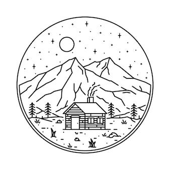 Casa natureza montanha ilustração gráfica