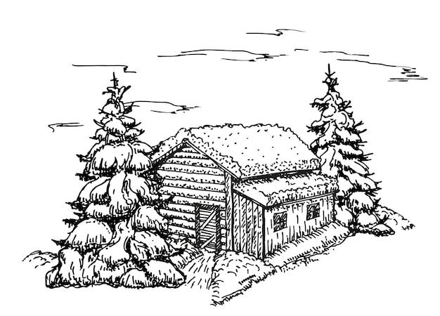 Casa no esboço da floresta de inverno. natal, ilustração da paisagem da casa na neve