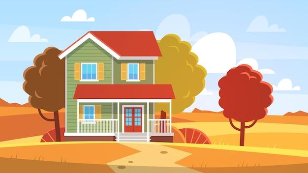 Casa no outono. casa na paisagem do outono, árvores e colinas de folhagem amarela e vermelha, vista frontal do edifício com terraço, casa de campo no campo, cartaz sazonal de fundo de vetor plano imobiliário