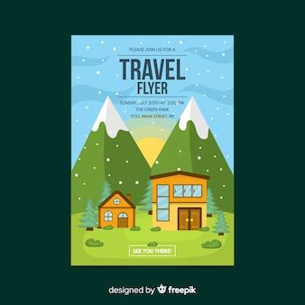 Casa no panfleto de viagens de montanhas