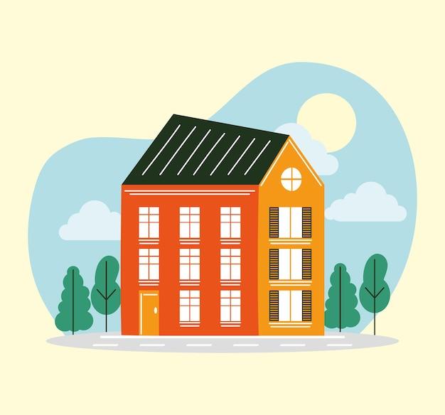 Casa no projeto da paisagem, tema de construção de imóveis residenciais. ilustração vetorial
