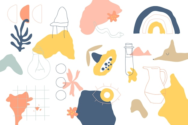 Casa objetos e plantas formas orgânicas de fundo