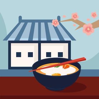 Casa oriental e comida