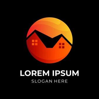 Casa ou casa com combinação de vetor de design de logotipo de sol, estilo de cor 3d