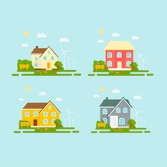 Casa ozy, casa, cabana, com árvores, flores, banco. conjunto de edifícios modernos. Vetor Premium