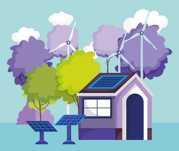 Casa painéis solares turbina vento árvores natureza energia eco