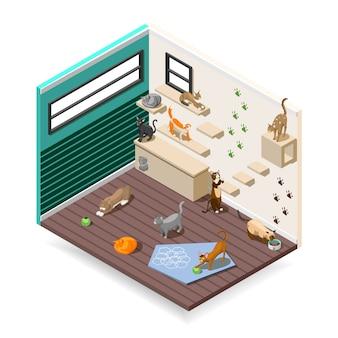 Casa para composição isométrica de gatos