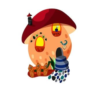 Casa para gnomo em cogumelo com janelinhas e jardim. ilustração em vetor bonito dos desenhos animados