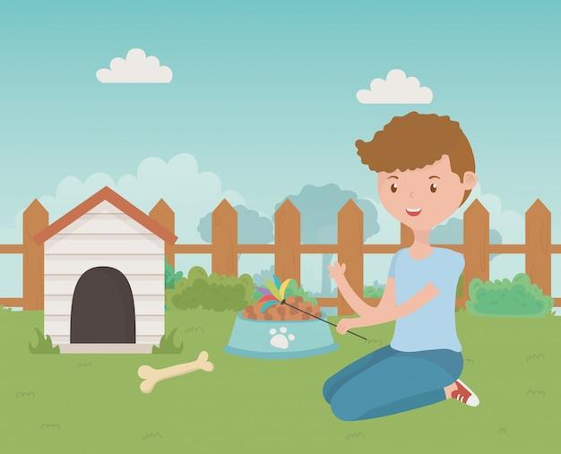 Casa para mascote e desenho de menino dos desenhos animados