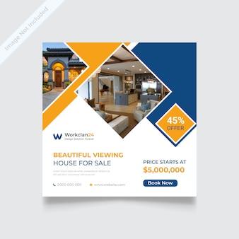 Casa para venda mídia social banner post ou modelo de folheto quadrado