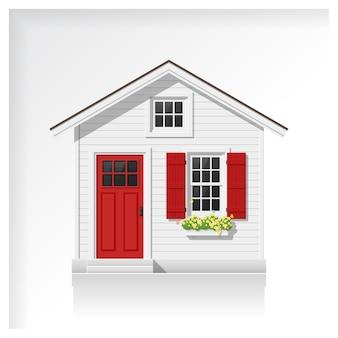 Casa pequena isolada no fundo branco
