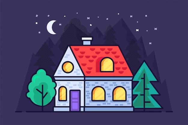 Casa plana nas montanhas e florestas