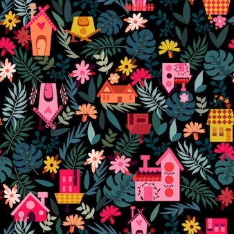 Casa preta padrão com folhas
