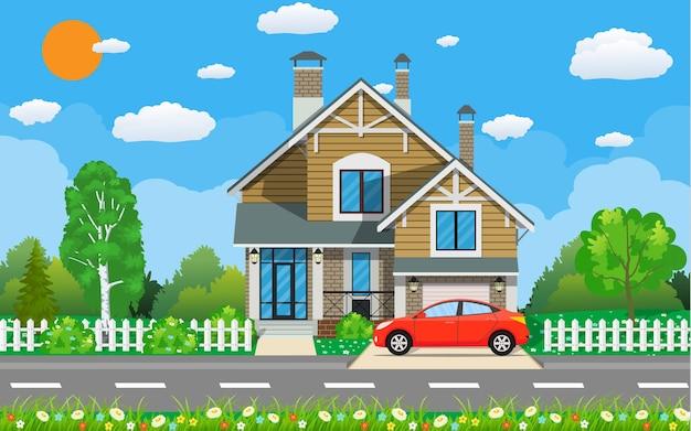 Casa privada suburbana com carro, árvores, estrada, céu e nuvens