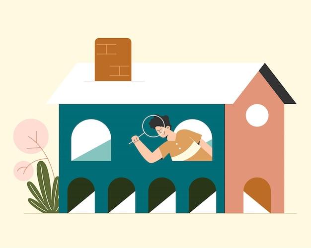 Casa procurando pessoas