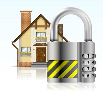 Casa protegida por uma fechadura