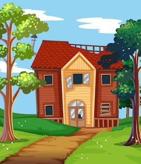 Casa quebrada no campo