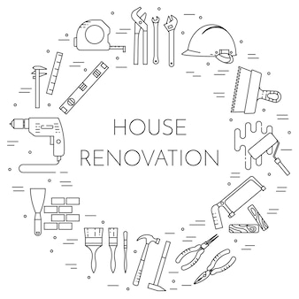 Casa remodelar banner horizontal. elemento para reparação de casa, construção ou empresa de renovação.