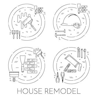 Casa remodelar banner horizontal. elemento para reparação de casa, construção ou empresa de renovação. Vetor Premium