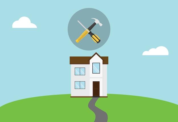 Casa, reparar, manutenção, símbolo, ícone, com, martelo, e, chave fenda, cima