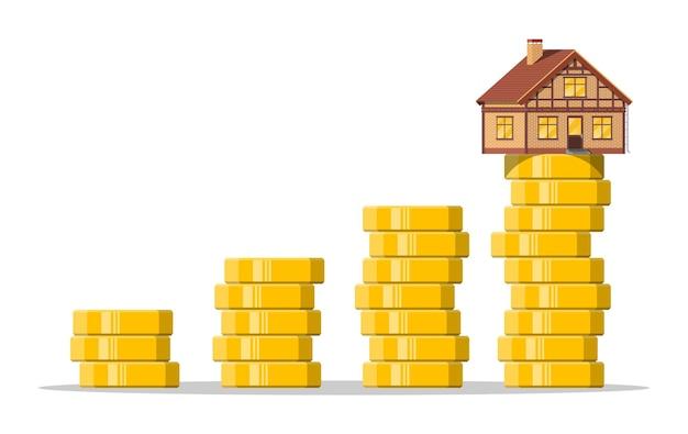 Casa residencial construída em cima de uma pilha de moedas de ouro crescendo