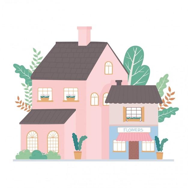Casa residencial e edifício comercial fachada exterior cartoon ilustração