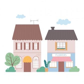 Casa residencial e edifício comercial fachada exterior cartoon