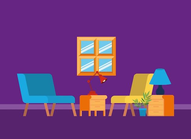 Casa sala de estar com assentos