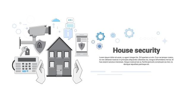 Casa segurança proteção proteção web banner vector illustration
