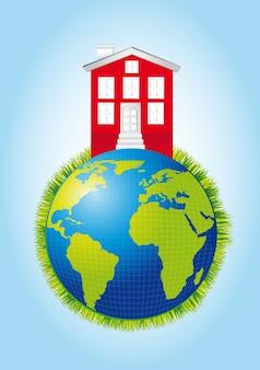 Casa sobre o planeta com grama sobre vetor de fundo azul