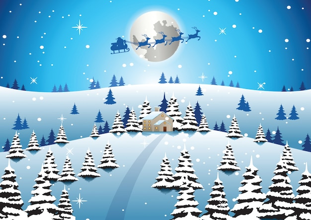 Casa solitária na noite de natal e papai noel voar para enviar presente para todos
