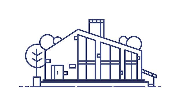 Casa suburbana com grandes janelas panorâmicas rodeadas por árvores. edifício de vida moderno e elegante desenhado com linhas azuis e isolado no fundo branco. ilustração em vetor monocromático no estilo lineart.